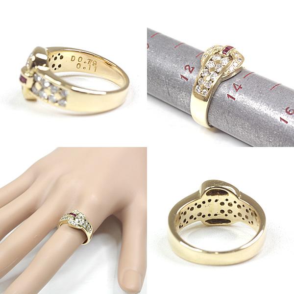 ベルトデザインがエレガント ルビー ダイヤモンド デザインリング