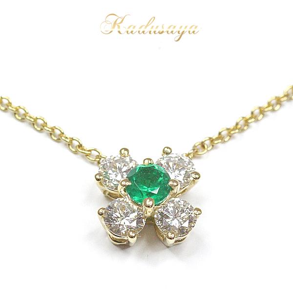 ティファニー K18YG エメラルド ダイヤモンド ネックレス