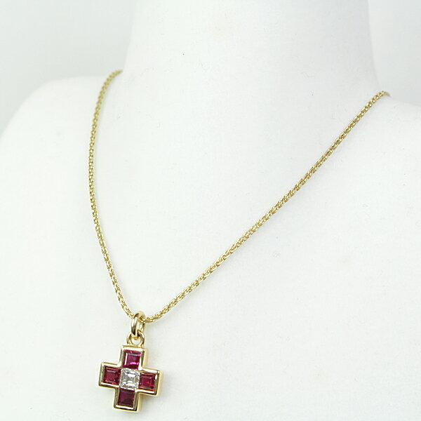 商品アップしました!BVLGARI ブルガリ ルビー ダイヤモンド クロス ペンダントYG