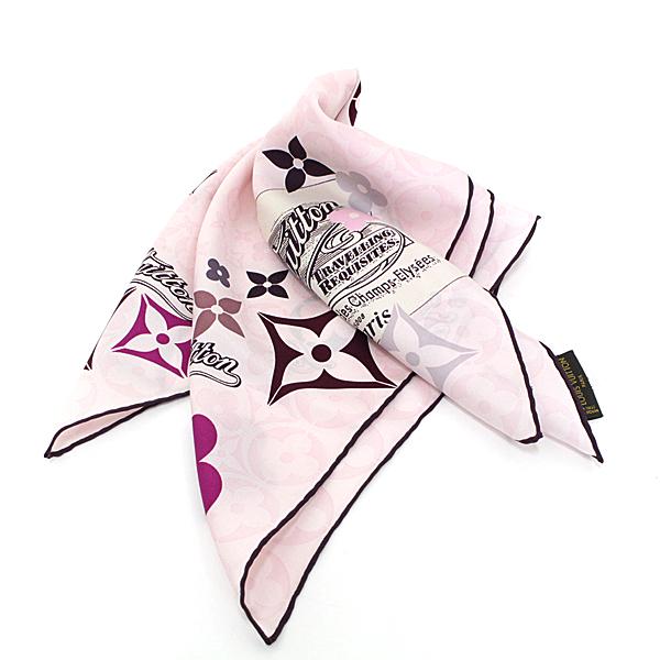 秋でも◎ブラウン×ピンク モノグラムフラワー オシャレなLV スカーフ♪