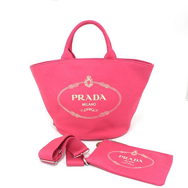 PRADA カナパ 可愛らしいピンクの舟型トートバッグ入荷しています♪