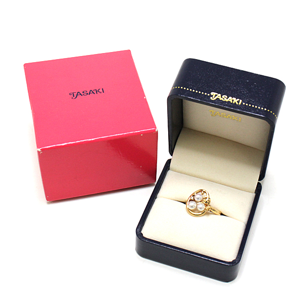 独特なデザインとエレガントさを併せ持つ TASAKI パールデザインリング ダイヤモンド  K18YG  5.1g 10.5号 【中古】