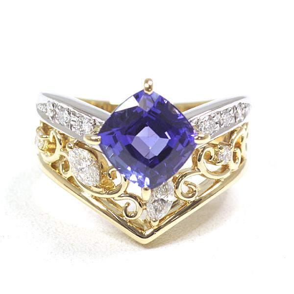 田崎真珠 タンザナイト ダイヤモンド デザインリング 希少なタンザナイトを使用したエレガントなリングです