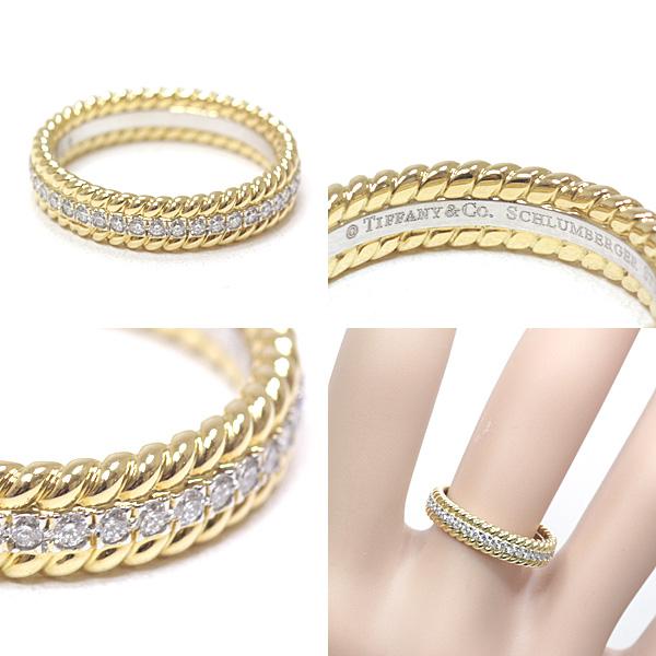 4月の誕生石 ダイヤモンドを贅沢に使用した ティファニー ジャン・シュランバージェ 2ロウ ロープ リング ご褒美ジュエリーにいかがでしょうか!