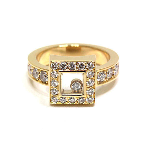 メゾンのアイコンであるムービングダイヤが自由に揺れ動き、輝きをより一層感じさせる Chopard ハッピーダイヤリング スクエア 82/2939-20 #11 仕上げ済み