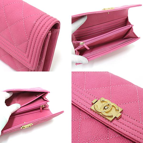 スタイリッシュかつフェミニンなデザインのBOY CHANEL ロング フラップ ウォレット A80286 ビビッドなピンクが印象的なお財布です。