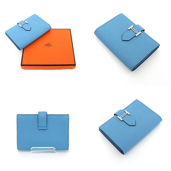 HERMES ベアン カードケース ブルーノール ヴォー・エプソン シルバー金具 D刻印(2019年製) 入荷致しました!
