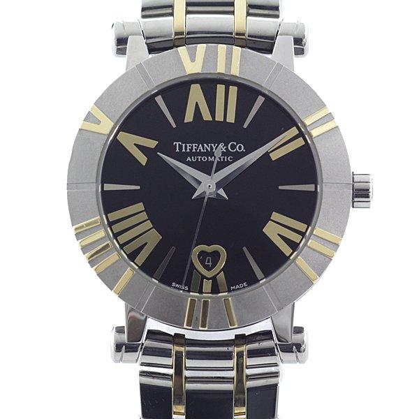 ハート型のカレンダー窓がフェミニンな ティファニー レディース腕時計 アトラスウォッチ Z1300.68.16A10A00A ブラック(黒)文字盤 自動巻き【中古】