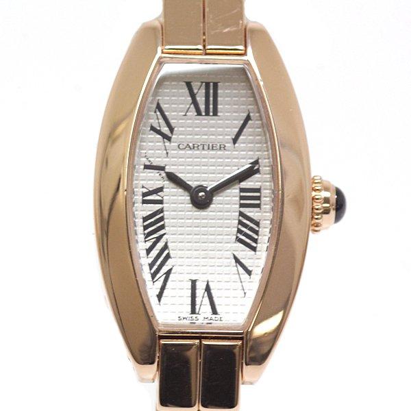 生産終了モデルの貴重な逸品 CARTIER カルティエ レディース腕時計 ミニトノーラニエール W15372X5 750PG シルバー文字盤【中古】この機会をお見逃しなく!